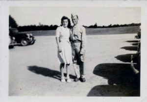 Jim pictured in his army uniform and Trudy in 1941.