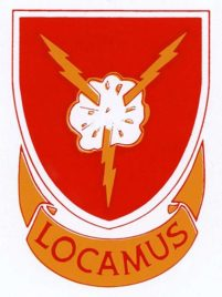 """Locamus"" is the Distinctive Unit Insignia (DUI) or crest worn by Army Infantry Veteran Michael Sharon's WWII unit."