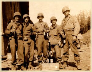 Drinking Hitler's wine, Michael Sharon, far left with his army buddies. ©Photo property of Sharon Family.