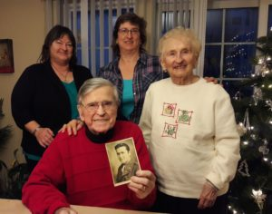 The Sharon Family (left to right) daughter Andrea Sharon, WWII veteran Michael Sharon, daughter Patricia Gallucci, wife Olga Sharon ©Photo property of Sharon Family.