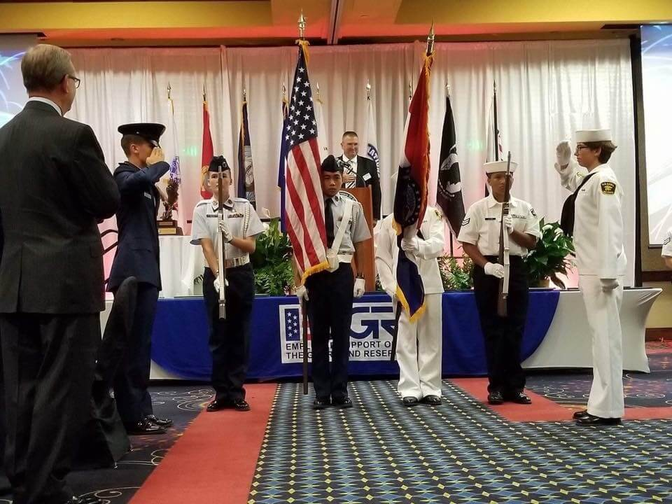 Young Naval and Air Force cadets presented the colors at the ESGR Awards Dinner.