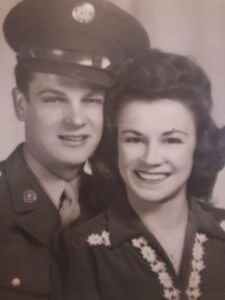 World War II soldier in uniform with his wife