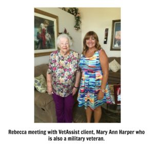 Rebecca meeting with VetAssist client, Mary Ann Harper who is also a military veteran.