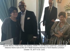 Jennifer Blome, KTRS Radio, Art Holliday, KSDK-TV and Bonnie Laiderman, president of Veterans Home Care at the 2017 Better Business Bureau's Torch Awards Luncheon October 19, 2017 in St. Louis.