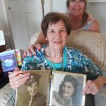 "Eileen Barkstedt and her mother Eleanor Platz, a real life ""Rose the Riveter"" during World War II who made ""dog tags"" worn by soldiers."