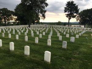 Rows of tombstones at Jefferson Barracks National Cemetery established soon after the Civil War in St. Louis, Missouri on the banks of the Mississippi River.