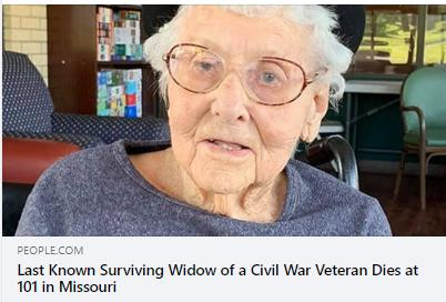 Last Known Civil War Widow Dies in 2020