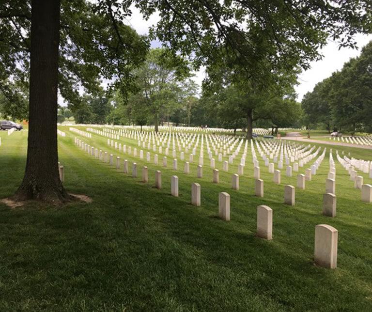 gravestones in Jefferson Barracks National Cemetery in St. Louis, Missouri